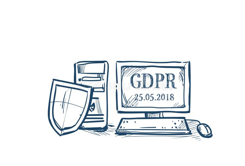 Shield security and protection of personal data on computer General Data Protection Regulation GDPR concept hand drawing vector illustration