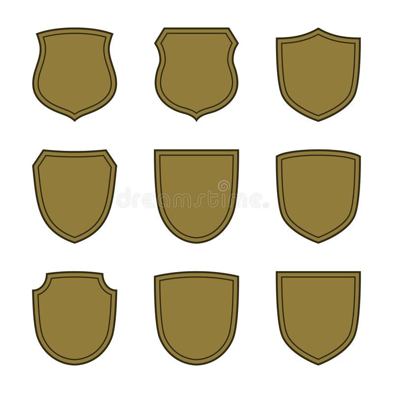 Shield shape bronze icons set. Simple silhouette flat logo on white background. Symbol of security, protection, safety. Strong. Element for secure protect royalty free illustration