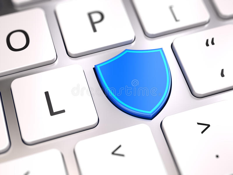 Shield shaped button on computer keyboard - Security and antivirus firewall protection concept stock illustration