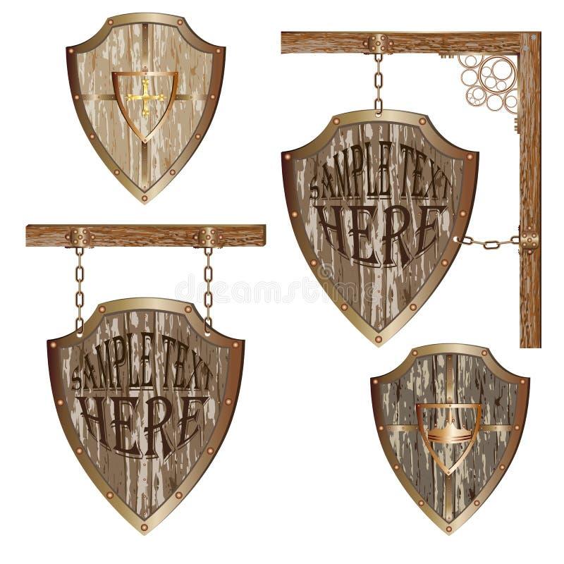 Shield_signboard_set 皇族释放例证