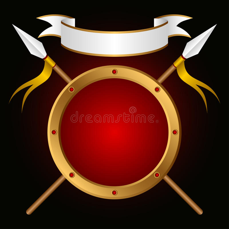 Download Shield and spear. stock vector. Image of heraldry, composition - 20052223