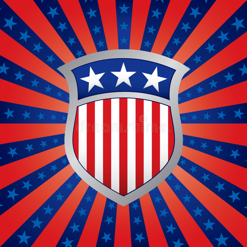Download Shield On A Stars And Stripes Background Stock Vector - Image: 5579584