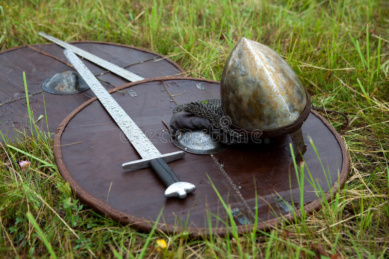 Shield and sword dripping. stock photography