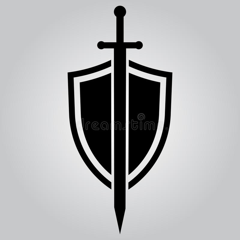 Shield and sword. Vector icon royalty free illustration