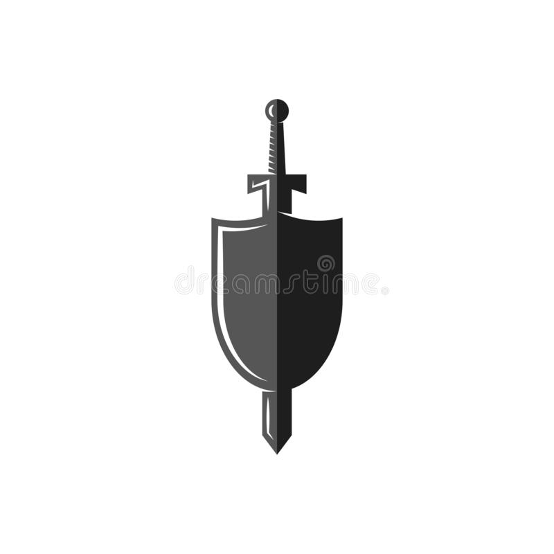 Shield and sword logo, weapon of the medieval knight, Historical Medieval Battles tournament emblem.  stock illustration