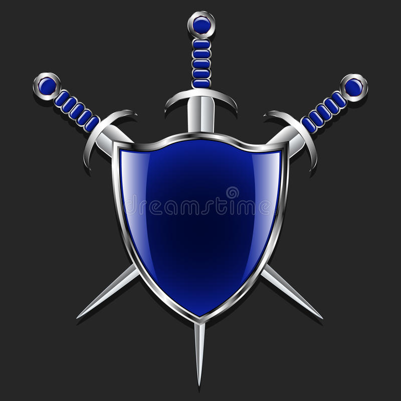 Shield With Swords Metal Shield And Three Swords The Blue Box And