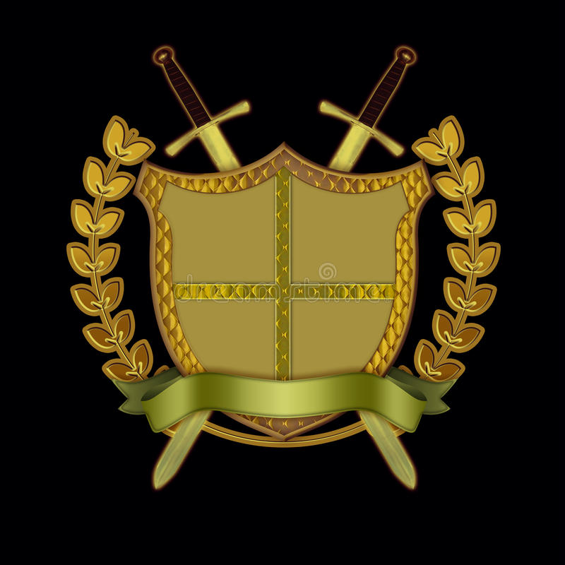 Shield with Swords, Scroll, and Olive Branch stock illustration