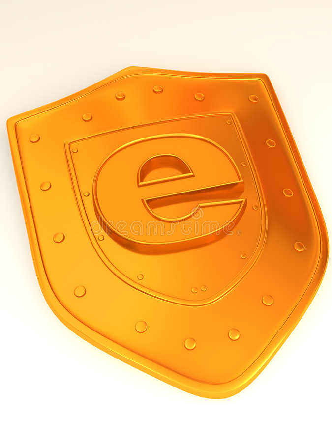 Shield With Symbol For Internet Royalty Free Stock Images