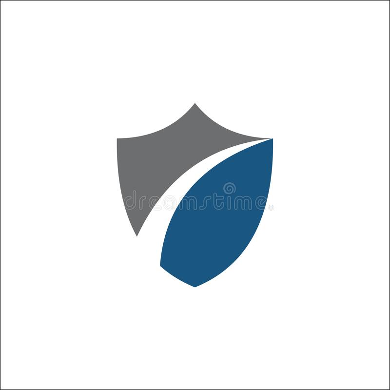 Shield symbol logo template vector illustration. And shield with swoosh royalty free illustration