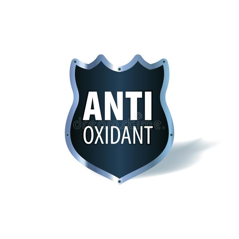 Shield symbol with the words Antioxidant, vector icon. Shield symbol with the words Antioxidant, medical vector icon stock illustration
