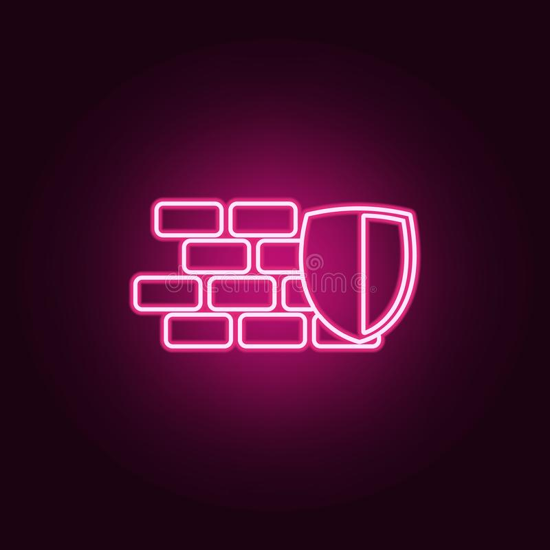 shield and wall icon. Elements of cyber security in neon style icons. Simple icon for websites, web design, mobile app, info stock illustration