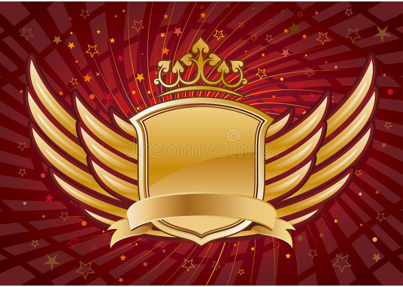 shield and wings with crown vector illustration