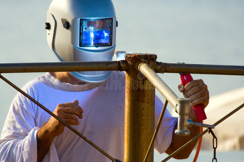 Shielded metal arc welding royalty free stock photography