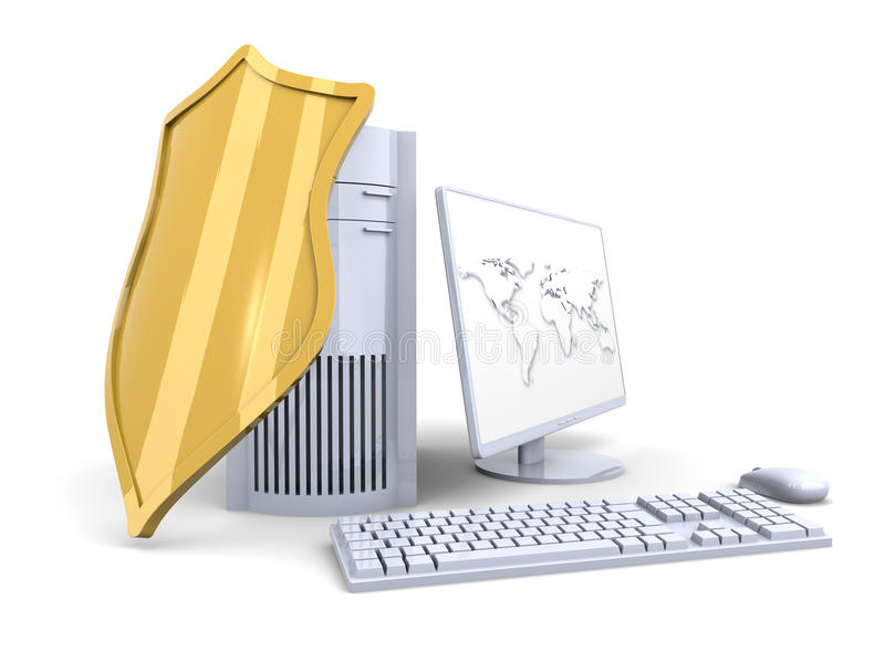 A shielded and protected desktop computer system vector illustration