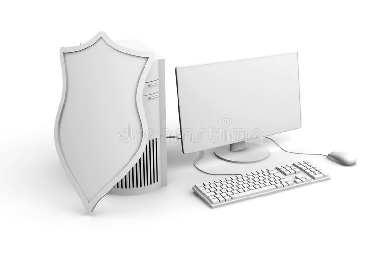 A shielded and protected desktop computer system royalty free illustration