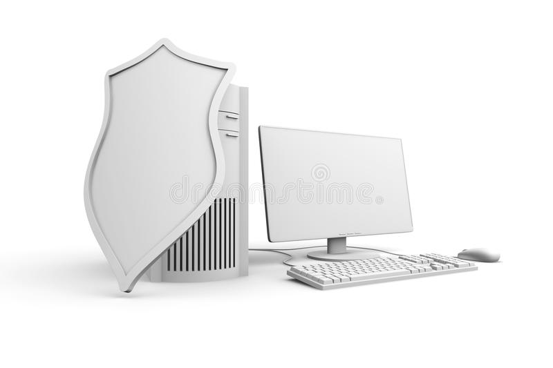 A shielded and protected desktop computer system. 3D rendered Illustration of a shielded and protected desktop computer system.r stock photos