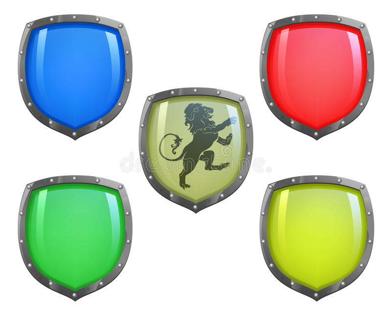 Shields in different colours. Illustration of shield in 5 different colours and lion motif vector illustration