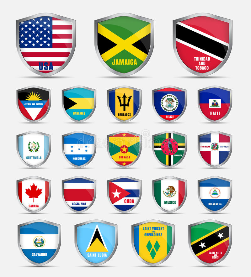Shields With Flags Of The Countries Of North America Stock Vector - How many countries in north america