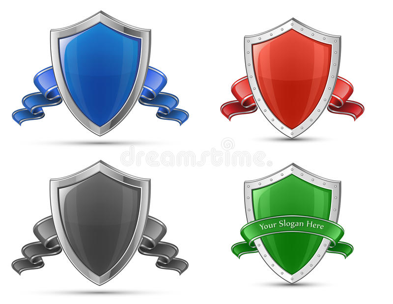 Download Shields and ribbons stock vector. Illustration of design - 23598458