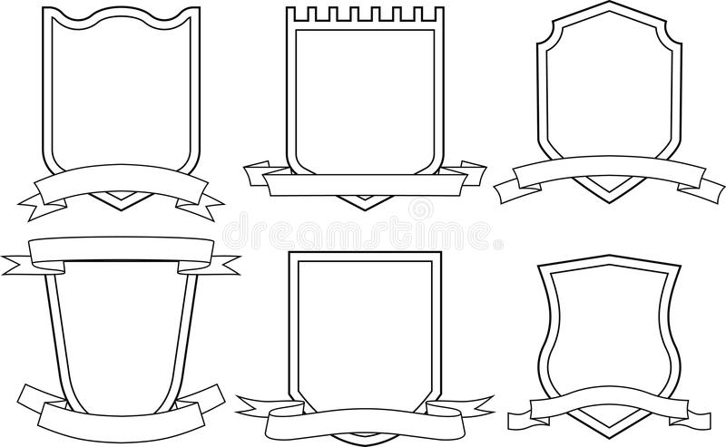 Shields and ribbons (Vector) vector illustration