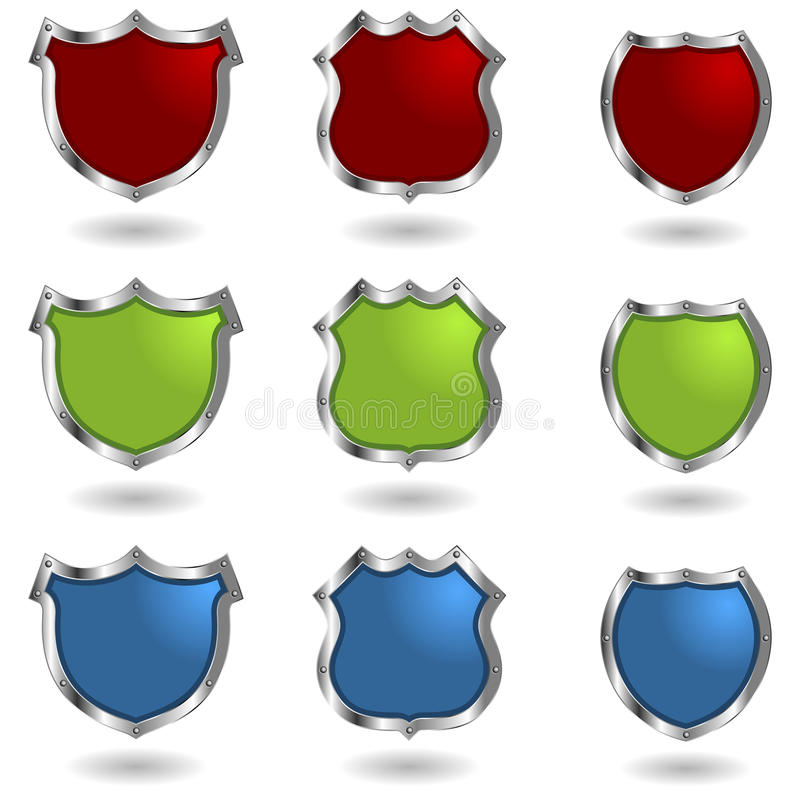 Shields with rivets. Empty colorful shields with rivets isolated over white royalty free illustration