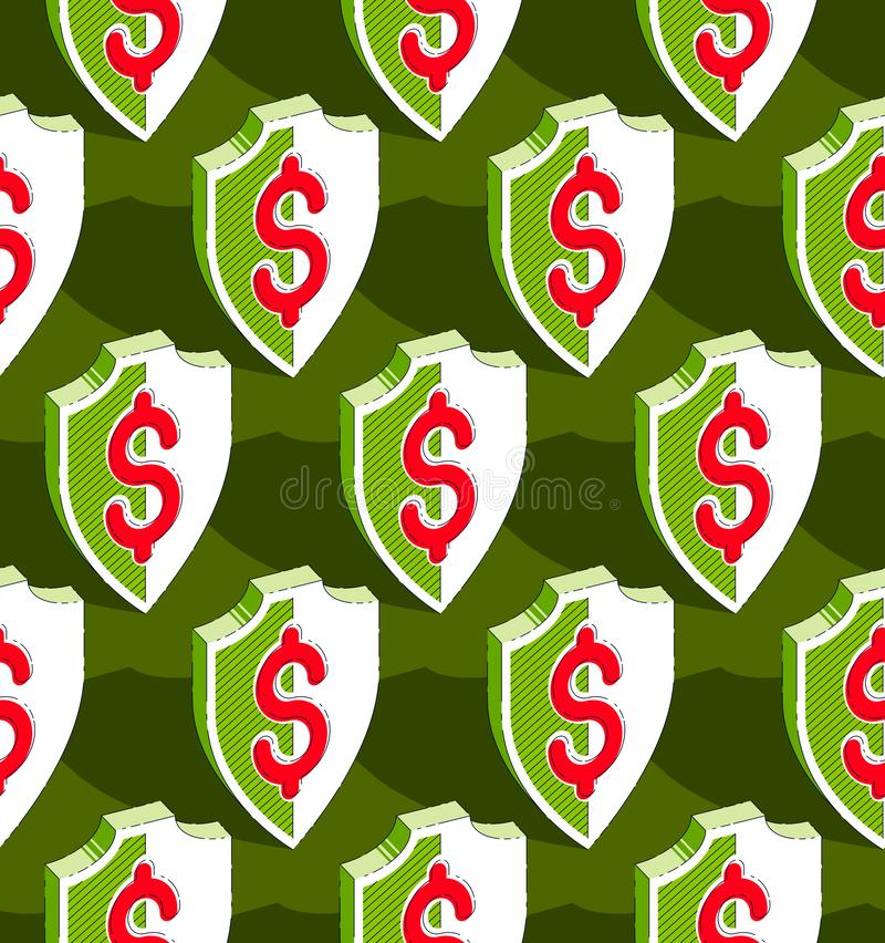 Shields seamless background, protection, vector wallpaper or web site background. Shields seamless background, protection, antivirus or firewall, vector stock illustration