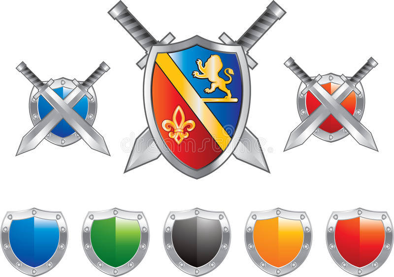 Shields and swords in blue and red royalty free stock photos