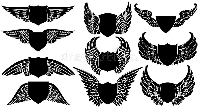 Shields with Wings stock illustration