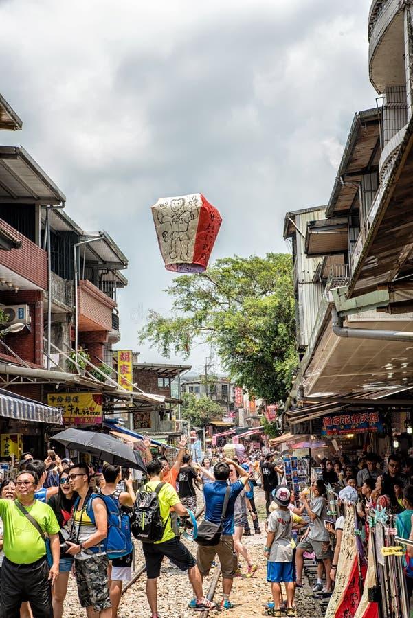 Shifen, Taiwan - 24. Juli 2016: Der alte Straßenabschnitt O Shifen stockfotografie