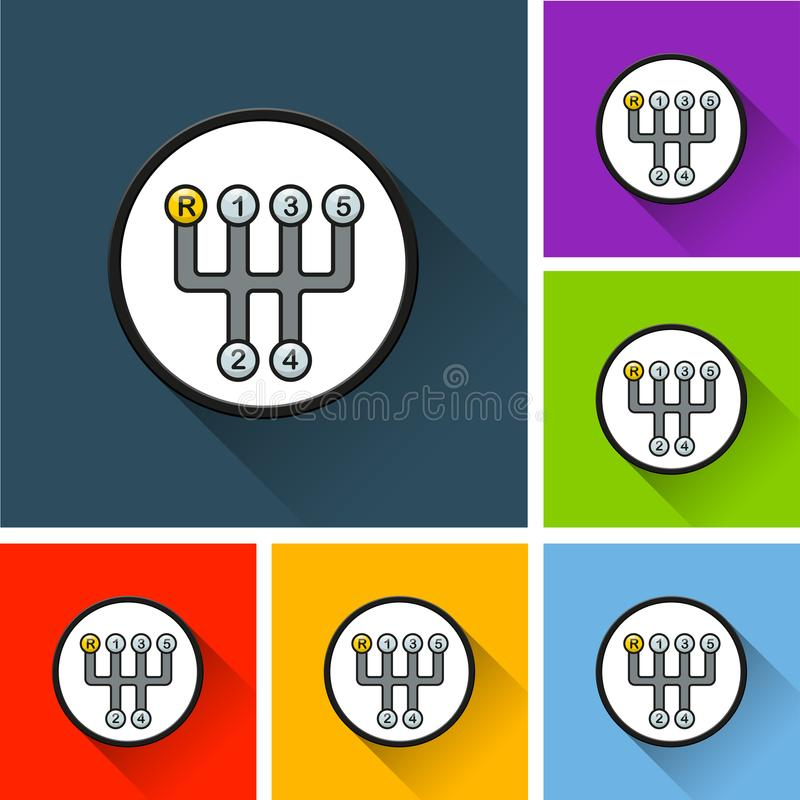 Shift box icons with long shadow royalty free illustration