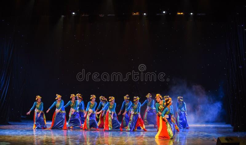 Shigatse flicka-kines folkdans arkivfoto