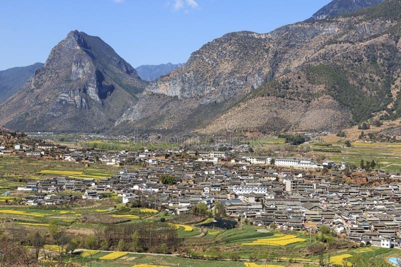 ShiGu village near Lijiang, aerial view. ShiGu is in Yunnan, China, and was part of the South Silk Road or ChaMa GuDao stock photo