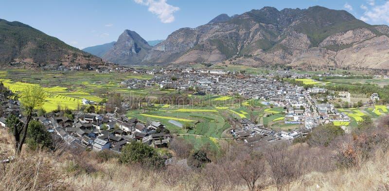 ShiGu village near Lijiang, aerial view. ShiGu is in Yunnan, China, and was part of the South Silk Road or ChaMa GuDao.  stock image