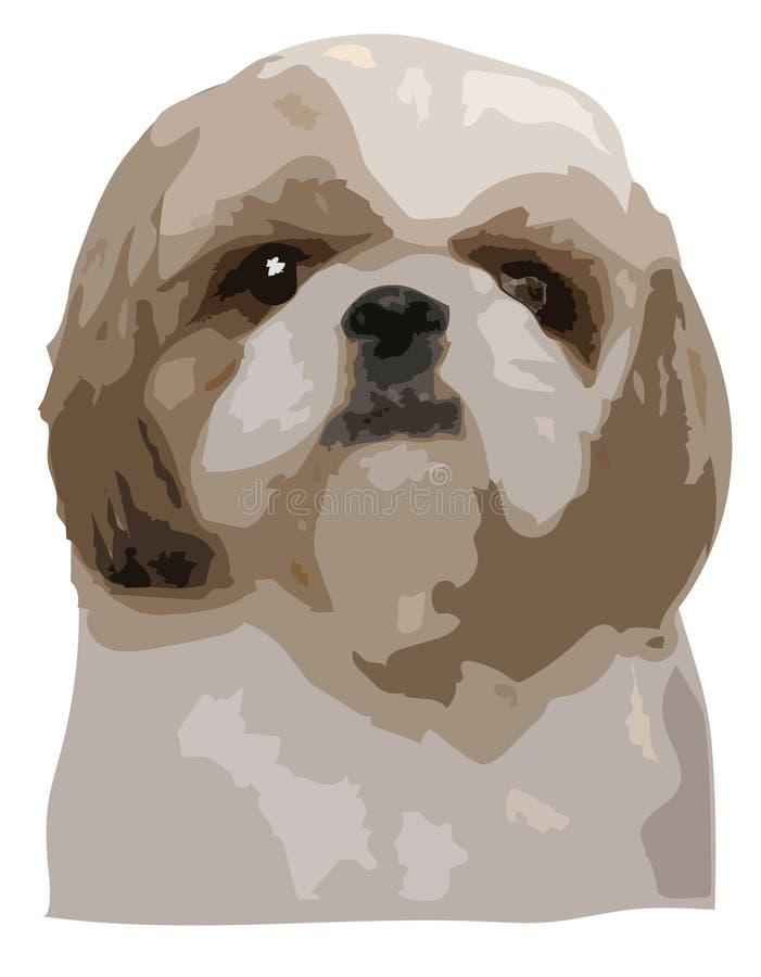 Shih慈济狗凝视平直,例证传染媒介流行艺术的面孔 向量例证