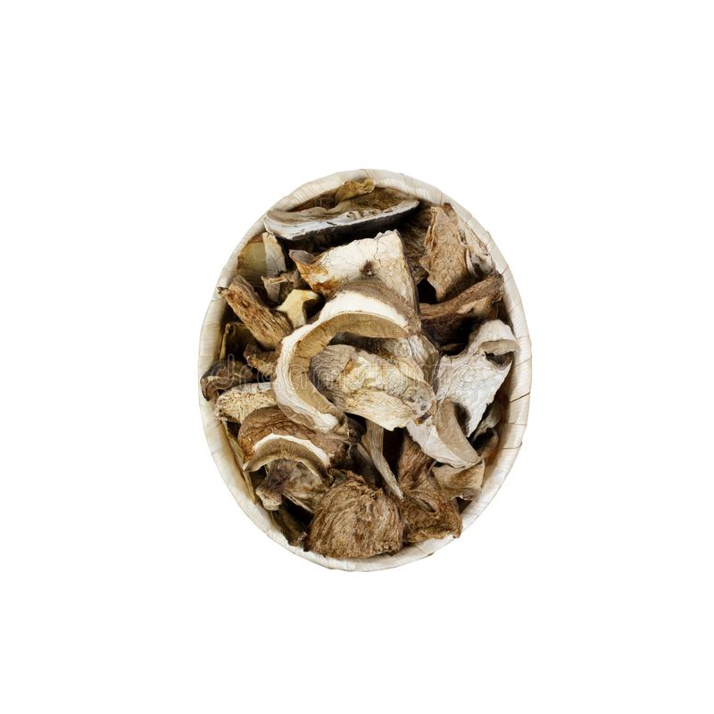 Shiitake mushroom in the basket on the White background.  royalty free stock photography