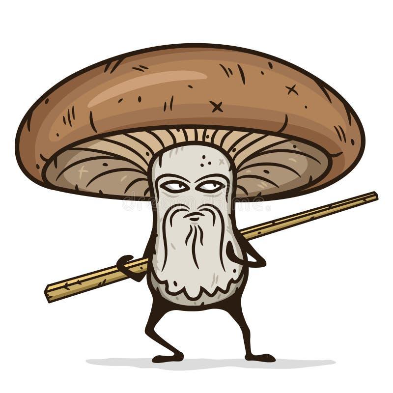 Shiitake mushroom cartoon character with wooden chopsticks. stock illustration