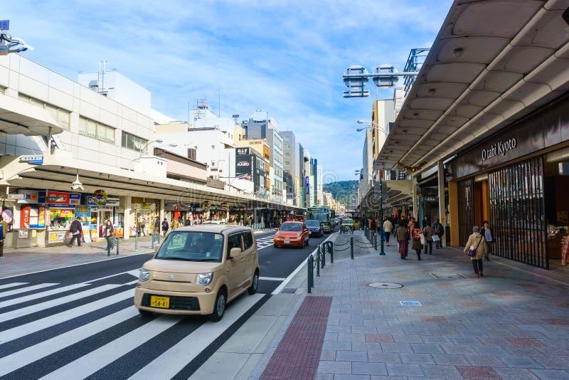 Shijo和Kawaramachi街道在街市京都,日本 库存照片