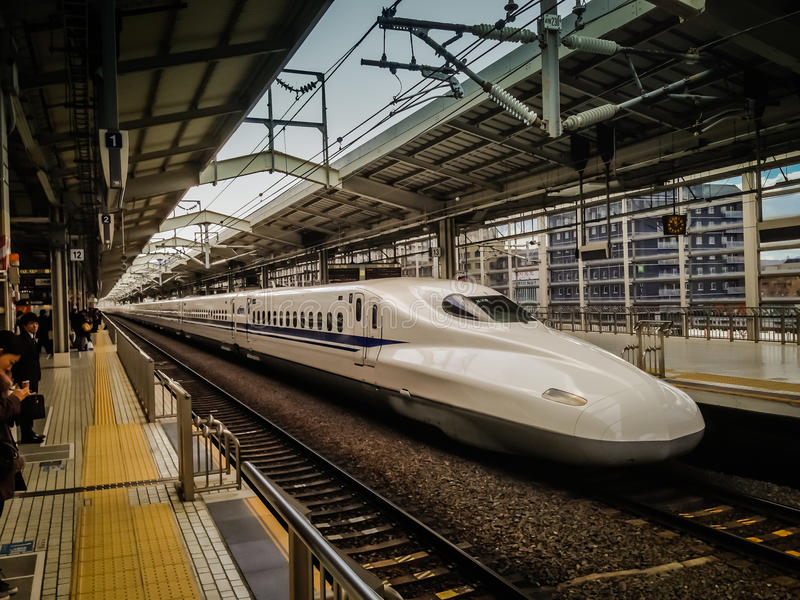 Shikansen, Tokyo Train Station. Catching the train in Japan royalty free stock photography