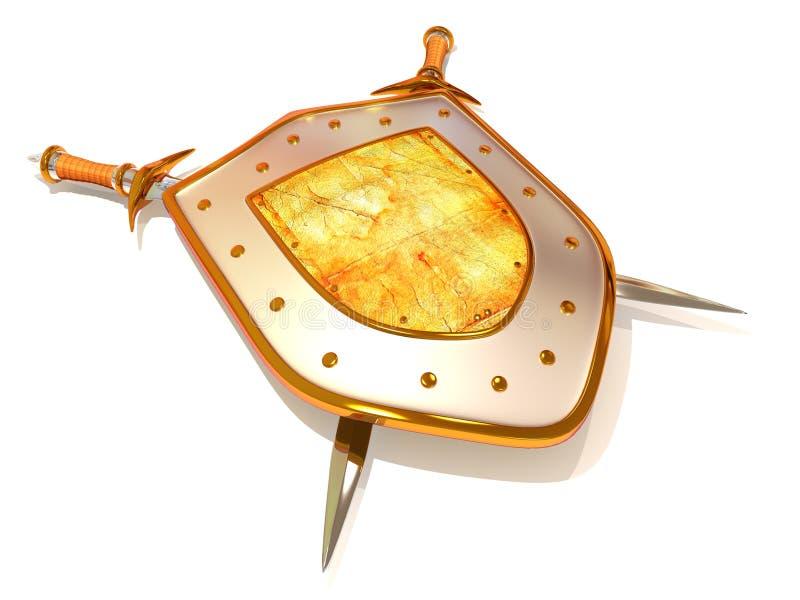 Shild avec l'épée. Garantie illustration stock