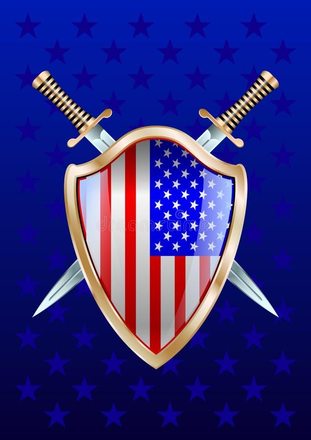 Shild e espadas EUA ilustração royalty free