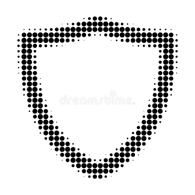Shiled Halftone Dotted Icon. Halftone pattern contains circle elements. Vector illustration of shiled icon on a white background vector illustration
