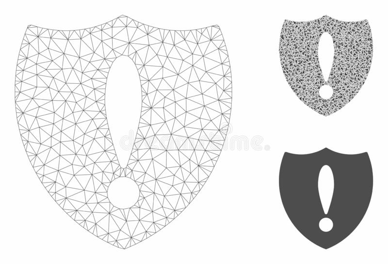 Shiled Problem Vector Mesh Carcass Model and Triangle Mosaic Icon vector illustration