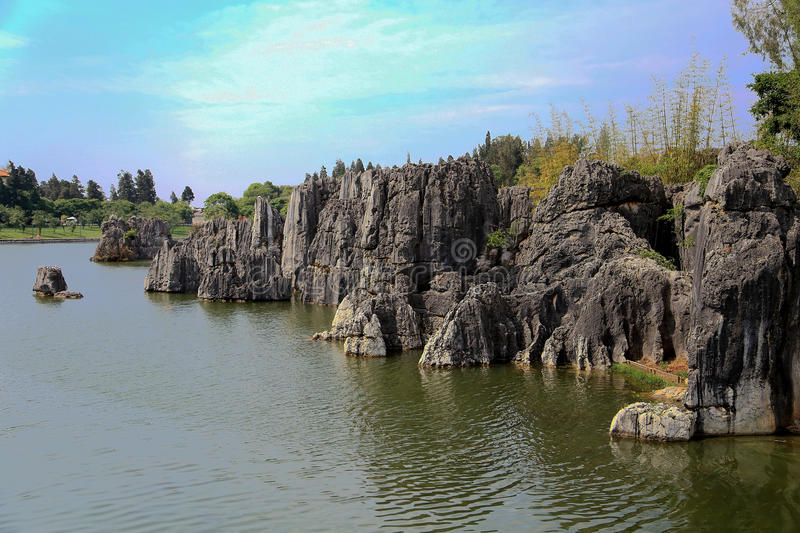 Shilin stone forest in kunming yunnan. China Photo taken on: april, 2015 royalty free stock photo