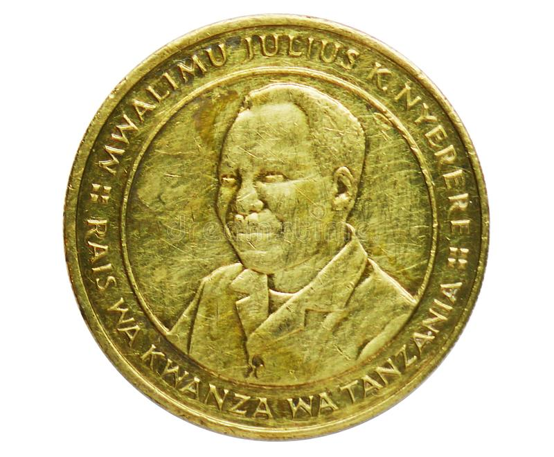 100 Shilingi coin, Bank of Tanzania. Reverse, 1993. 100 Shilingi coin, Bank of Tanzania. Reverse, issued on 1993. Isolated on white stock photos