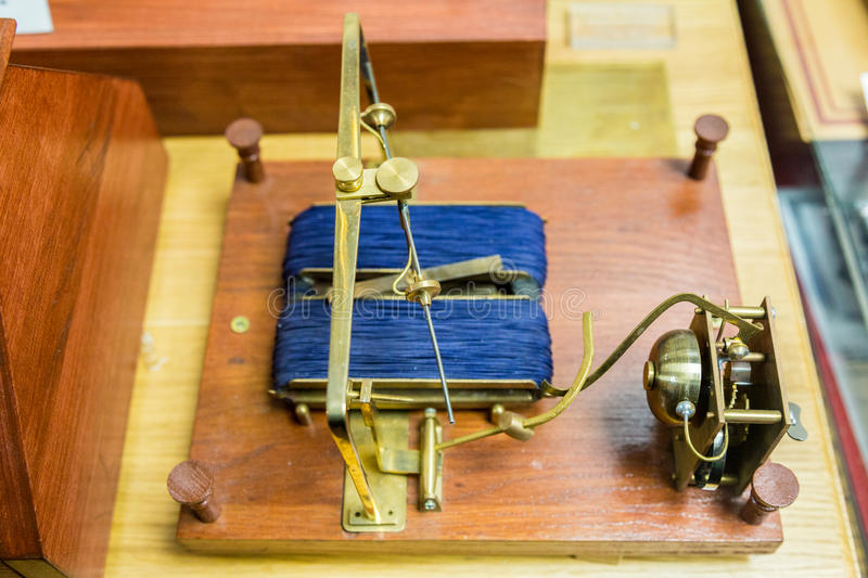 Shilling`s electromagnetic telegraph. The world`s first electromagnetic telegraph of the russian scientist P.L. Shilling, 1832 royalty free stock photo