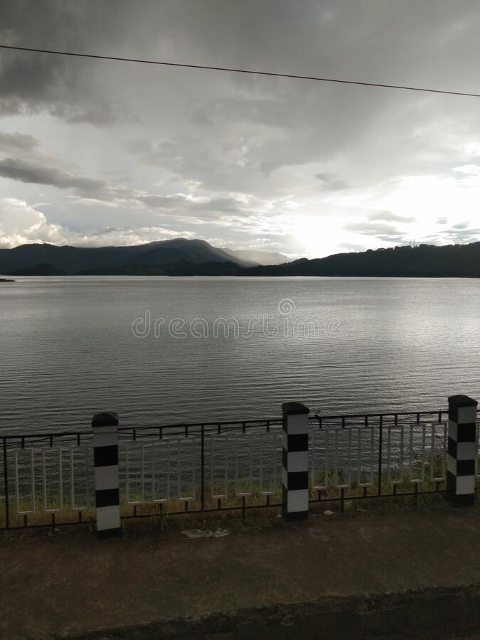 The shillong in India scenery of river at sunset time. Wonderful cloudy on the sky at time.And very sweet able environment stock image