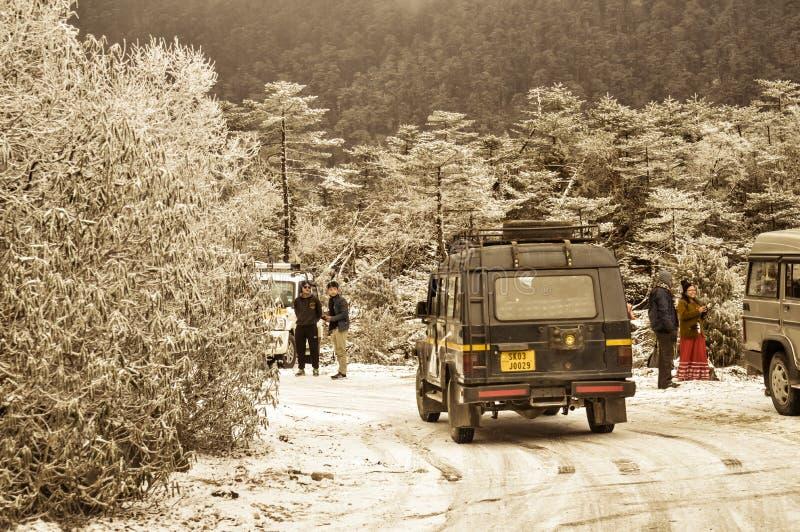 Shimla, Himachal Pradesh, 25 December, 2018: Incessant sneeuwval heeft toerist om tijdelijk ertoe aangezet te stoppen De nabijgel stock afbeeldingen