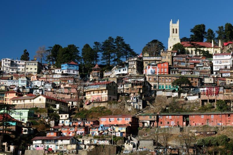Shimla - Himalaya mountains. View on the Shimla, Indian rest city, in Himalaya mountains stock photos