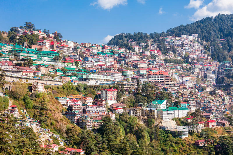 Shimla in India. Shimla aerial view, it is the capital city of the Indian state of Himachal Pradesh, located in northern India royalty free stock image