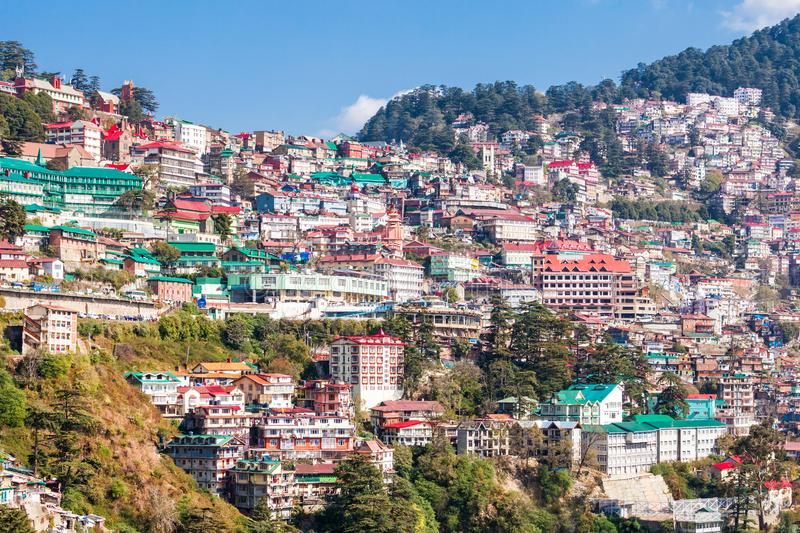 Shimla in India. Shimla aerial view, it is the capital city of the Indian state of Himachal Pradesh, located in northern India stock image